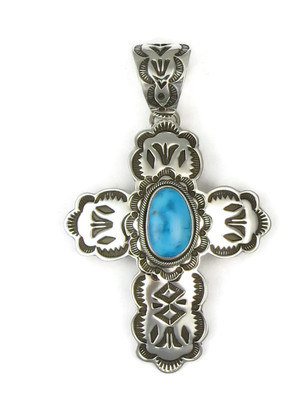 Blue Ridge Turquoise Handmade Silver Cross Pendant by Elgin Tom (PD3715)