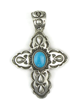 Blue Ridge Turquoise Handmade Silver Cross Pendant by Elgin Tom (PD3716)