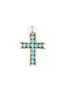Turquoise Inlay Cross Pendant by Zuni, Vincent Abeita (PD3723)