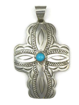 Large Handmade Turquoise Cross Pendant by Carson Blackgoat