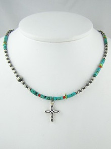 Turquoise & Gemstone Heishi Silver Cross Necklace