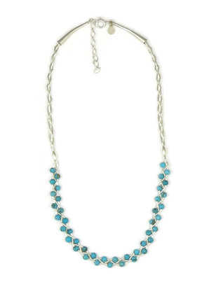 Liquid Silver Turquoise Bead Necklace - Adjustable Length
