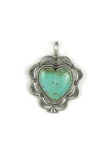 Kingman Turquoise Heart Pendant - Reversible (PD3732)