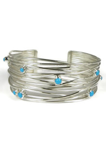 Sleeping Beauty Turquoise Silver Branch Wire Bracelet by Angela Martin