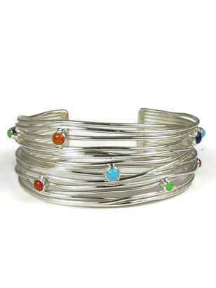 Multi Gemstone Silver Branch Wire Bracelet by Angela Martin