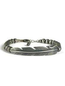 Silver Feather Bead Bracelet by Santo Domingo, Raymond Coriz