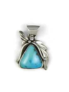 Silver Blue Gem Turquoise Pendant by Les Baker Jewelry