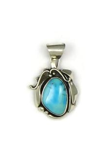 Silver Blue Gem Turquoise Pendant by Les Baker (PD3739)