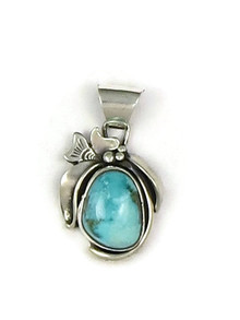 Silver Blue Gem Turquoise Pendant by Les Baker Jewelry (PD3741)