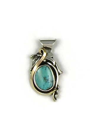 12k Gold & Sterling Silver Kingman Turquoise Pendant by Les Baker Jewelry