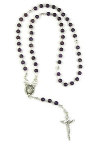 Amethyst rosary beads with detachable beads that can worn as a necklace.