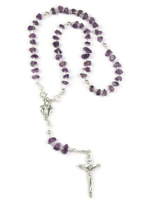 Amethyst Nugget Rosary Beads with Detachable Beads