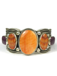 Silver Tri Color Spiny Oyster Shell Bracelet by Albert Jake