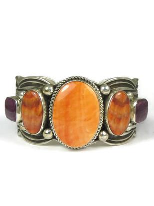 Silver Tri Color Spiny Oyster Shell Bracelet by Albert Jake