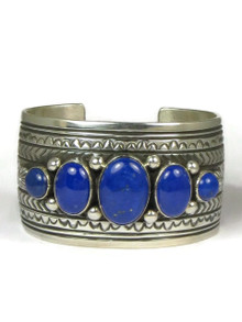 Silver Lapis Cuff Bracelet by Darryl Becenti