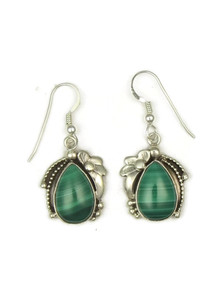 Sterling Silver Malachite Earrings by Les Baker Jewelry