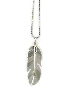 Sterling Silver Feather Pendant by Lena Platero