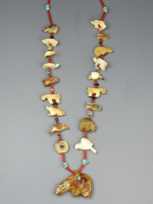 Fossilized Ivory & Coral Fetish Necklace by Zuni Artist, Georgia Quandelacy