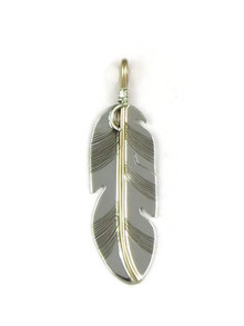 Native american silver feather pendants buy today 12k gold sterling silver feather pendant by lena platero aloadofball Gallery