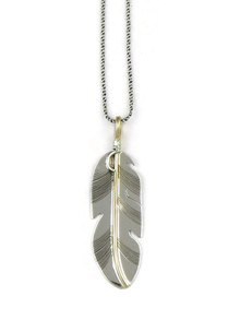 12k Gold & Sterling Silver Feather Pendant by Lena Platero (PD3751)