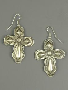 Handmade Silver Cross Earrings by Jerry Platero