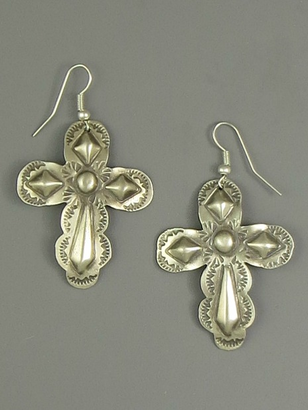 Handmade Silver Cross Earrings by Jerry Platero