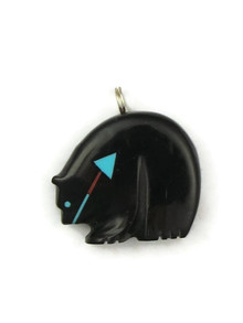 Zuni Jet Bear Fetish Pendant with Heart-Line by Georgia Quandelacy (PD3763)