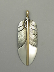 12k Gold & Sterling Silver Feather Pendant by Lena Platero (PD3765)