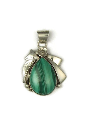 Sterling Silver Malachite Pendant By Les Baker Jewelry