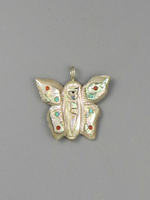 Abalone Butterfly Fetish Pendant by Zuni Artist, Sandra Quandelacy