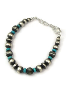 Turquoise & Silver Bead Bracelet