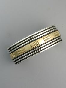 14k Gold & Sterling Silver Cuff Bracelet by Bruce Morgan (BR5583)