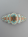 Turquoise & Coral Needle Point Hair Barrette by Zuni Artist, Keith Leekity
