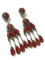 Meditteranean Coral Petit Point Dangle Earrings by Robert Leekya, Zuni