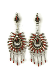 Delicate, hand-cut, needle point mediterranean coral earrings that are handmade by Zuni Indian artist, Keith Leekity.