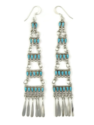 Long Turquoise Petit Point Dangle Earrings by Milburn Dishta, Zuni