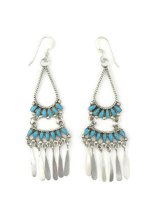 Turquoise Petit Point Chandelier Dangle Earrings by Milburn Dishta, Zuni