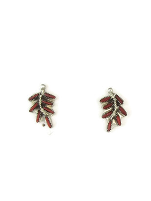 Mediterranean Coral Needle Point Leaf Design Post Earrings by Zuni, Lorna Mankee