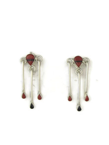 Mediterranean Coral & Jet Inlay Dangle Earrings by Zuni artist, Adrianna Halusewa