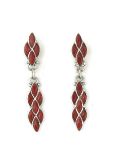 Mediterranean Coral Inlay Earrings by Lorelia Chavez, Zuni