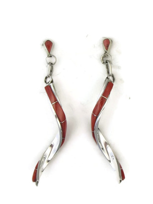 Mediterranean Coral Inlay Swirl Dangle Earrings by Gloria Waseta