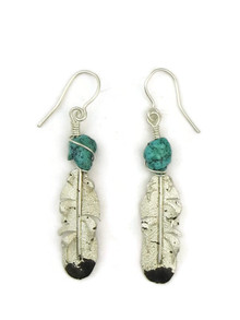 Turquoise & Silver Feather Earrings by Ernest Rangel (ER5014)