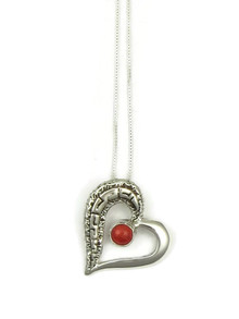 Sterling Silver Coral Heart Pendant by Calvin Begay