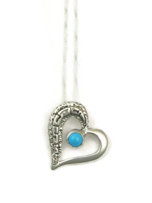 Sterling Silver Sleeping Beauty Turquoise Heart Pendant by Calvin Begay