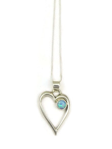 Blue Opal Open Heart Pendant