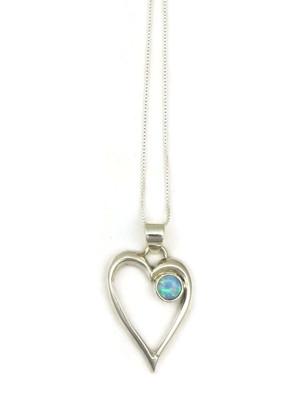 Blue Opal Open Heart Pendant
