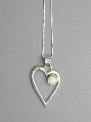 Opal Open Heart Pendant