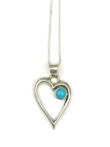 Sleeping Beauty Turquoise Open Heart Pendant