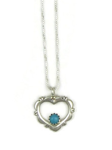 Small Silver Sleeping Beauty Turquoise Heart Pendant