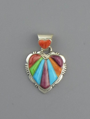 Multi Gemstone Scultped Inlay Heart Pendant (PD4767)